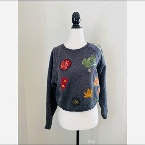 Zara Cropped Sweater Embroidery floral Size Small